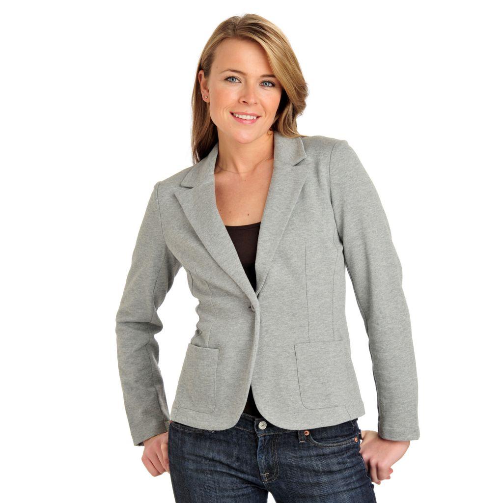 711-465 - Geneology Stretch Knit One-Button Two-Pocket Sweater Blazer