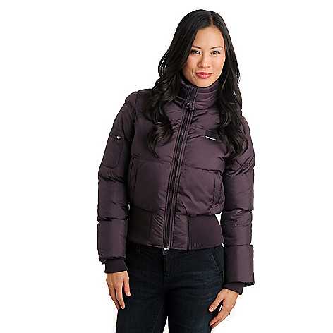 711-469 - Members Only Nylon Puffer Rib Waist & Cuff Zip Front Bomber Jacket