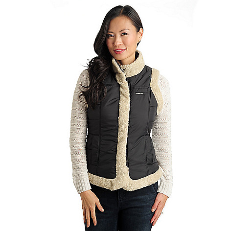 711-470 - Members Only Nylon Quilted Faux Shearling Trimmed Snap Pocket Vest