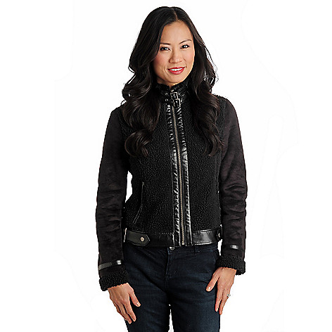 711-472 - Members Only Faux Shearling & Leather Combo Zip Front Jacket