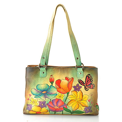 711-556 - Anuschka Hand-Painted Leather Multi Compartment Organizer Tote Bag