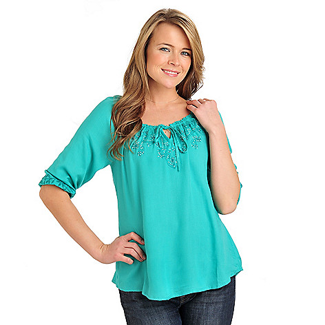 711-558 - One World Woven 3/4 Sleeved Embellished Bib Peasant Top