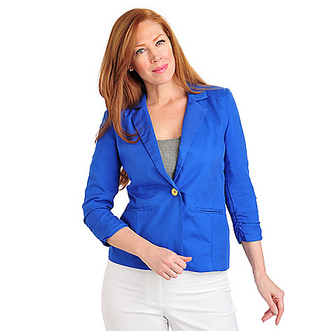 711-569 - Kate & Mallory Rayon Twill Ruched Sleeve One-Button Lined Blazer