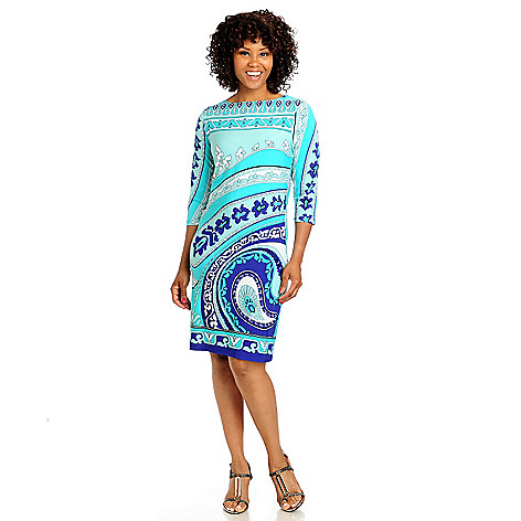 711-578 - Geneology Stretch Knit 3/4 Sleeved Boat Neck Shift Dress
