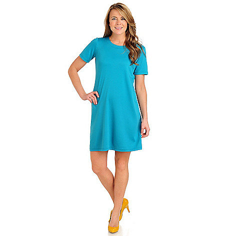 711-579 - Geneology Stretch Ponte Short Sleeved Scoop Neck T-shirt Dress