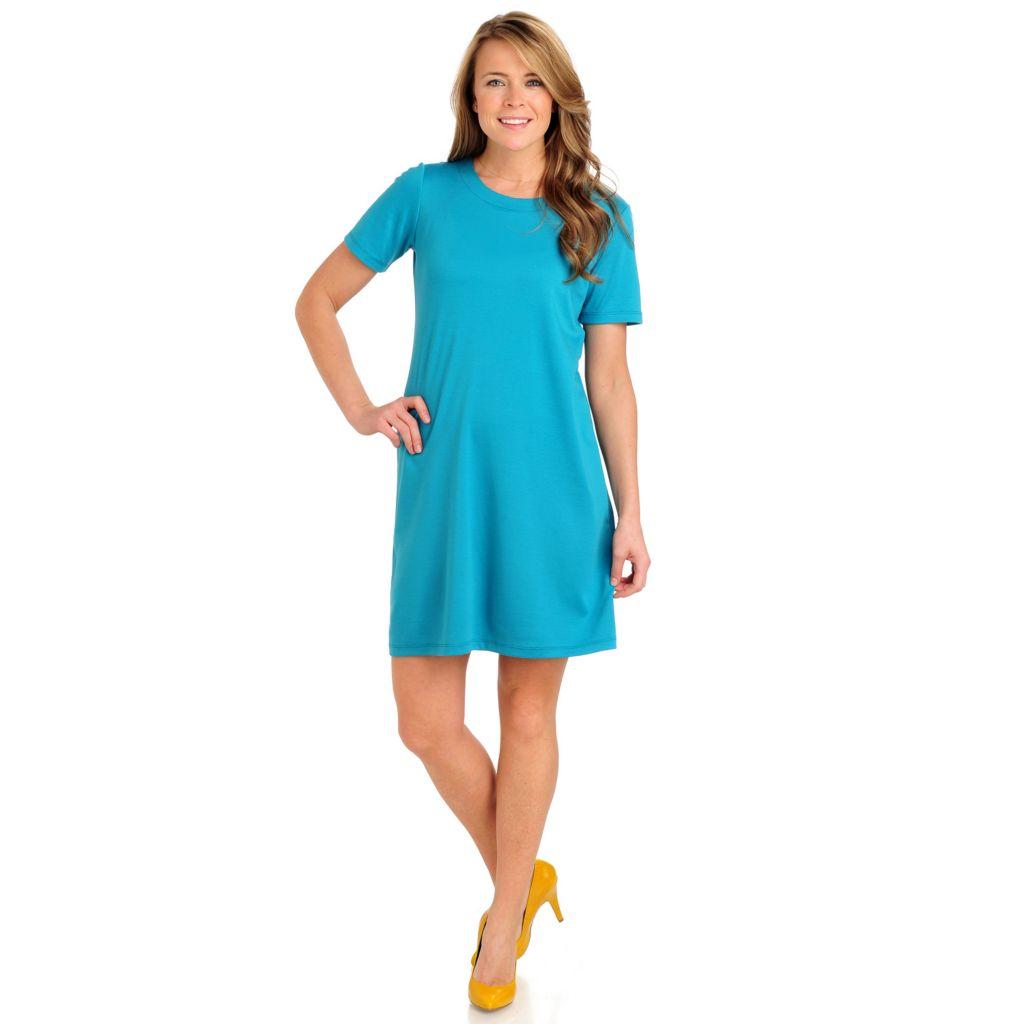 711-579 - Geneology Stretch Ponte Short Sleeved Scoop Neck T-shirt Dress