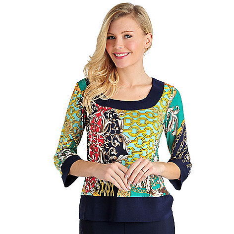 711-580 - Geneology Stretch Knit 3/4 Sleeved Solid Trim Printed Top