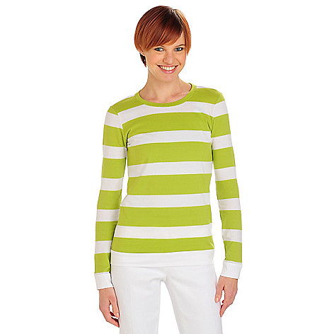 711-808 - OSO Casuals Stripe Knit Long Sleeved Solid Back Crew Neck Top