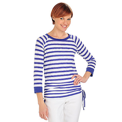 711-812 - OSO Casuals Stripe Knit Raglan Sleeve Cinched Tie Sides Scoop Neck Top