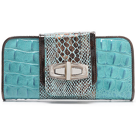 711-832 - Madi Claire ''Sandra'' Croco & Snake Embossed Leather Turn Lock Wallet
