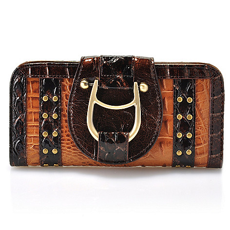 711-834 - Madi Claire Croco Embossed Leather Studded Flap-over Wallet