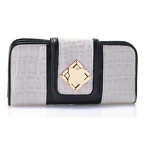 711-860 - Madi Claire ''Misty'' Croco Embossed & Quilted Leather Fancy Turn Lock Flap-over Wallet