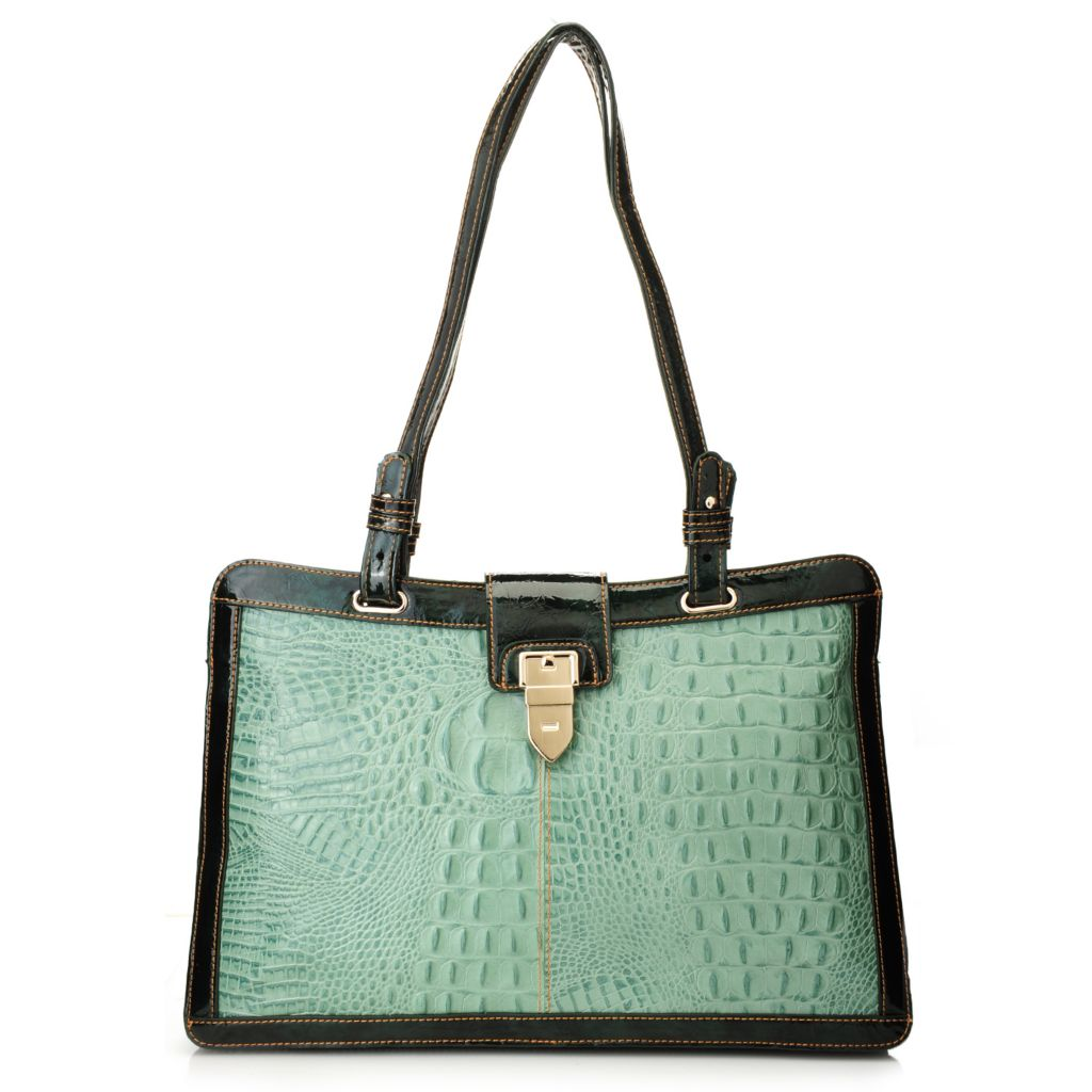 "711-864 - Madi Claire Croco Embossed Leather ""Kayla"" Double Handle Tote Bag"