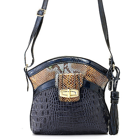 711-867 - Madi Claire ''Sandra'' Croco & Snake Embossed Leather Cross Body Bag