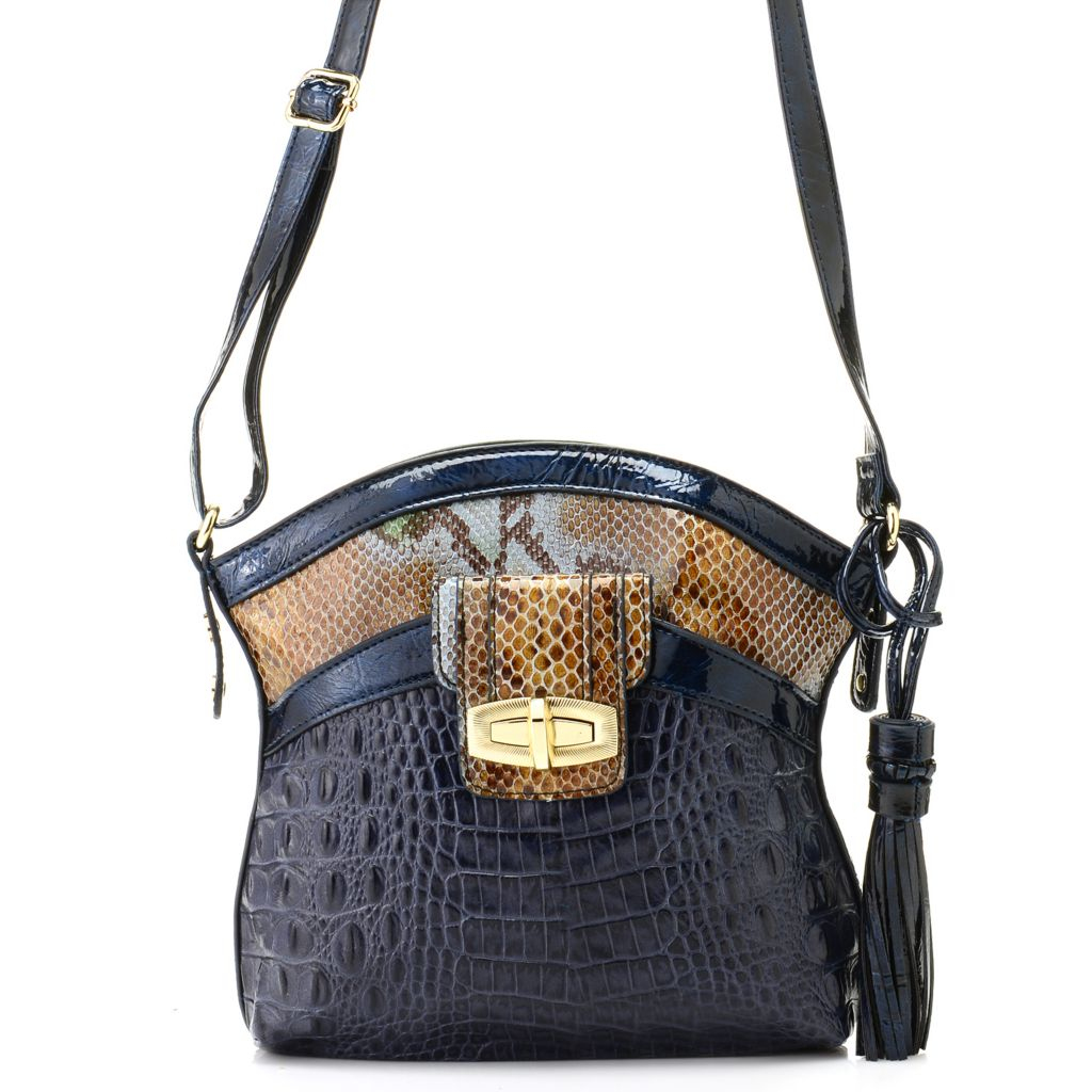"711-867 - Madi Claire Croco & Snake Embossed Leather ""Sandra"" Cross Body Bag"