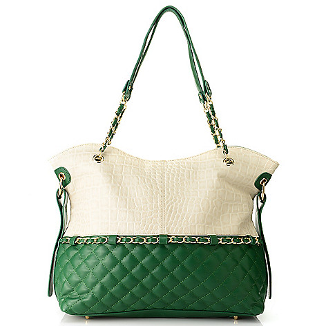 711-872 - Madi Claire Croco Embossed & Quilted Leather Chain Detailed Tote Bag