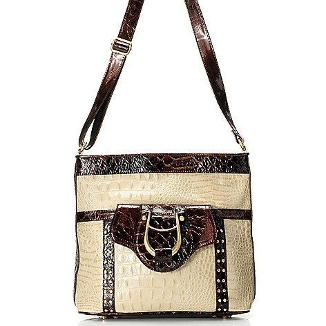 711-877 - Madi Claire Croco Embossed Leather ''Gabby'' Cross Body Bag