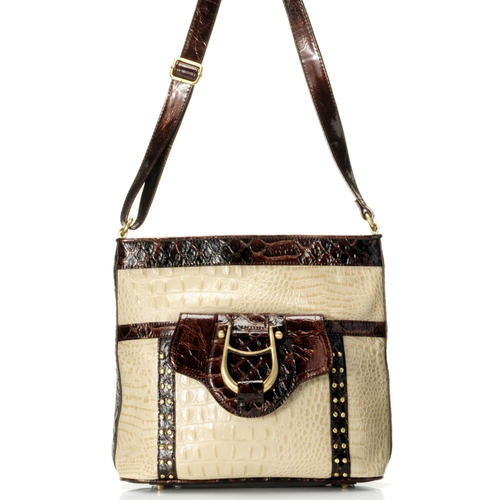 "711-877 - Madi Claire Croco Embossed Leather ""Gabby"" Cross Body Bag"