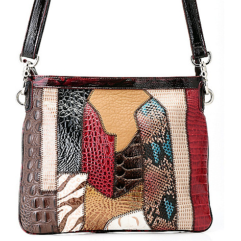 711-879 - Madi Claire Croco Embossed Leather ''Alyssa'' Multi Media Cross Body Bag