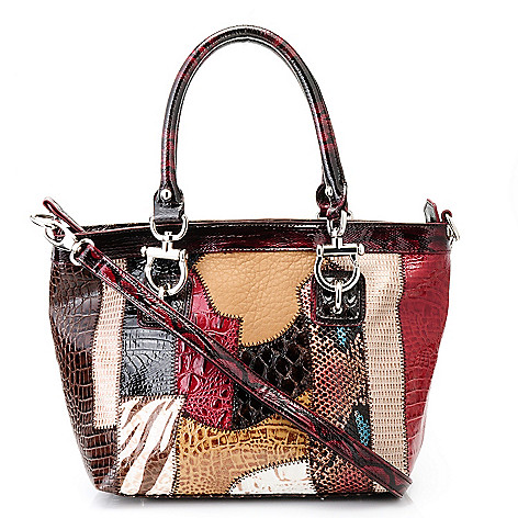 711-880 - Madi Claire Croco Embossed Leather ''Alyssa'' Multi Media Satchel Handbag