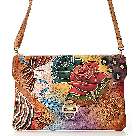 711-881 - Anuschka Hand-Painted Leather Envelope Clutch w/ Shoulder Strap