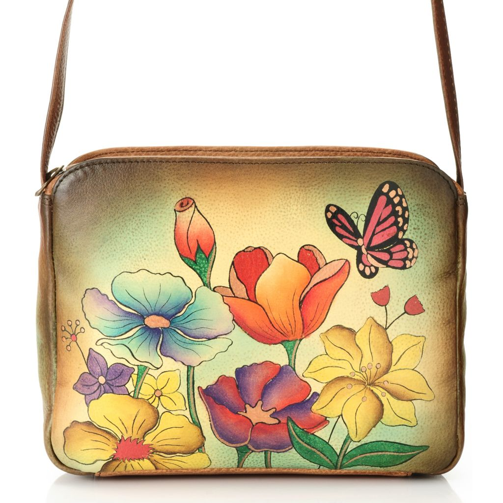 711-882 - Anuschka Hand-Painted Leather Zip Top Cross Body Bag