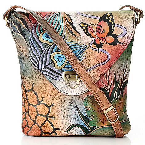 711-883 - Anuschka Hand-Painted Leather Flap-over Cross Body Bag