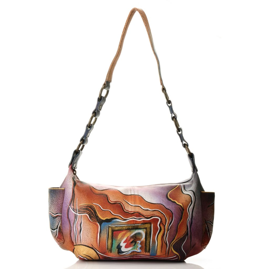 711-884 - Anuschka Hand-Painted Leather Zip Top East-West Handbag