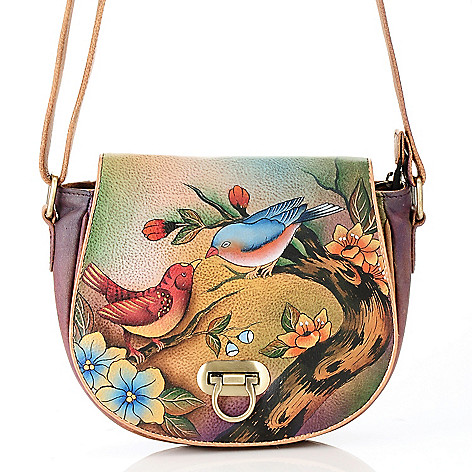 711-885 - Anuschka Hand-Painted Leather Flap Over Cross Body Saddle Bag
