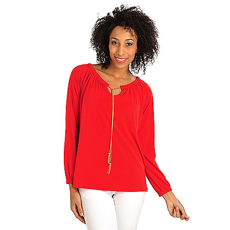 711-886 - Kate & Mallory Stretch Knit Raglan Sleeved Tassel Tie Neck Peasant Top