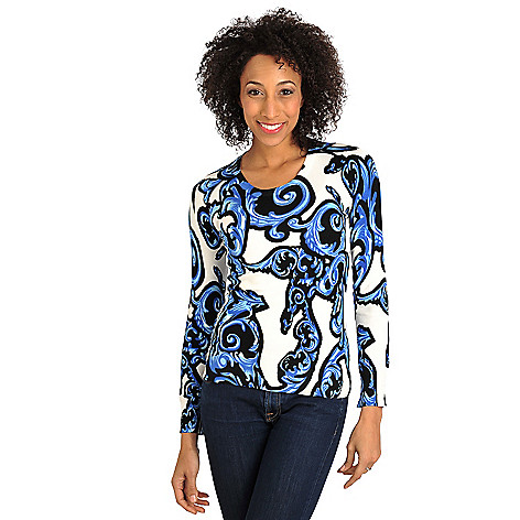 711-891 - Geneology Fine Gauge Knit Long Sleeved Scoop Neck Pullover Sweater