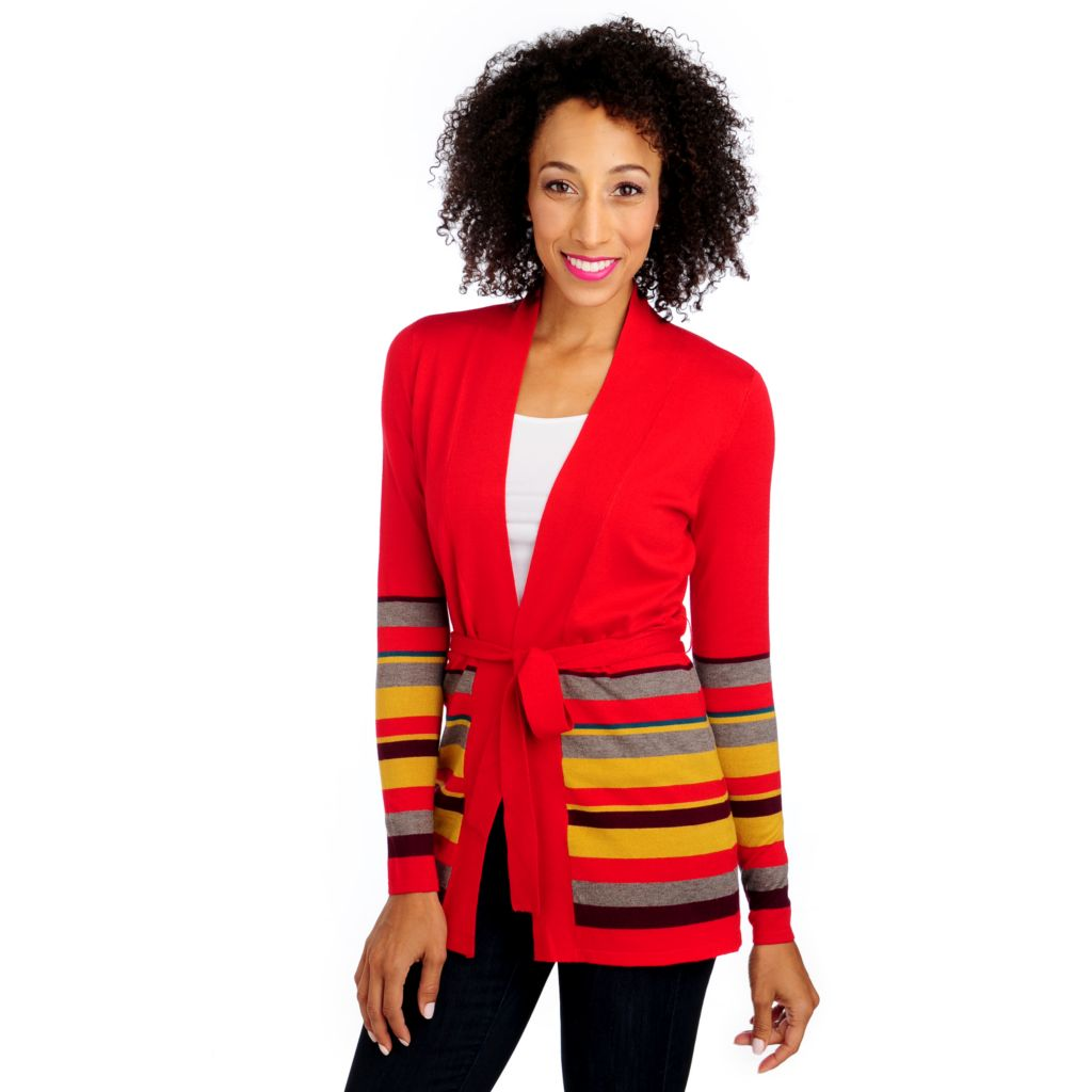711-895 - Geneology Fine Gauge Knit Long Sleeved Border Striped Tie Waist Cardigan