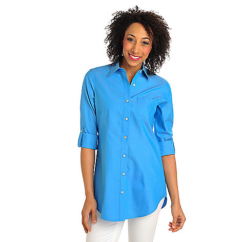 711-961 - Foxcroft Oxford Tab Sleeved Tunic Length Non-Iron Shirt