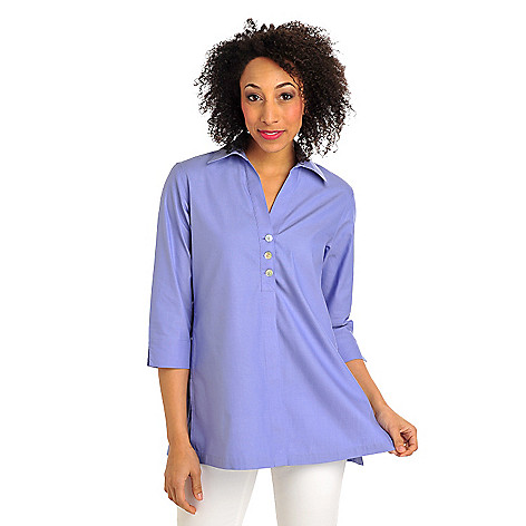 711-964 - Foxcroft Woven Back Button Detail Tunic Length Non-Iron Shirt