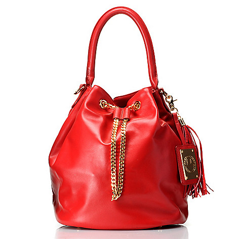711-969 - Jack French London Leather ''The Kingly'' Drawstring Bucket Bag