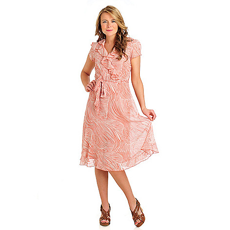 711-982 - aDRESSing WOMAN Yoryu Ruffle Front Faux Wrap Dress w/ Knit Slip