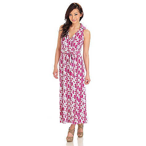711-985 - aDRESSing WOMAN Stretch Knit Sleeveless Self Belted Maxi Dress