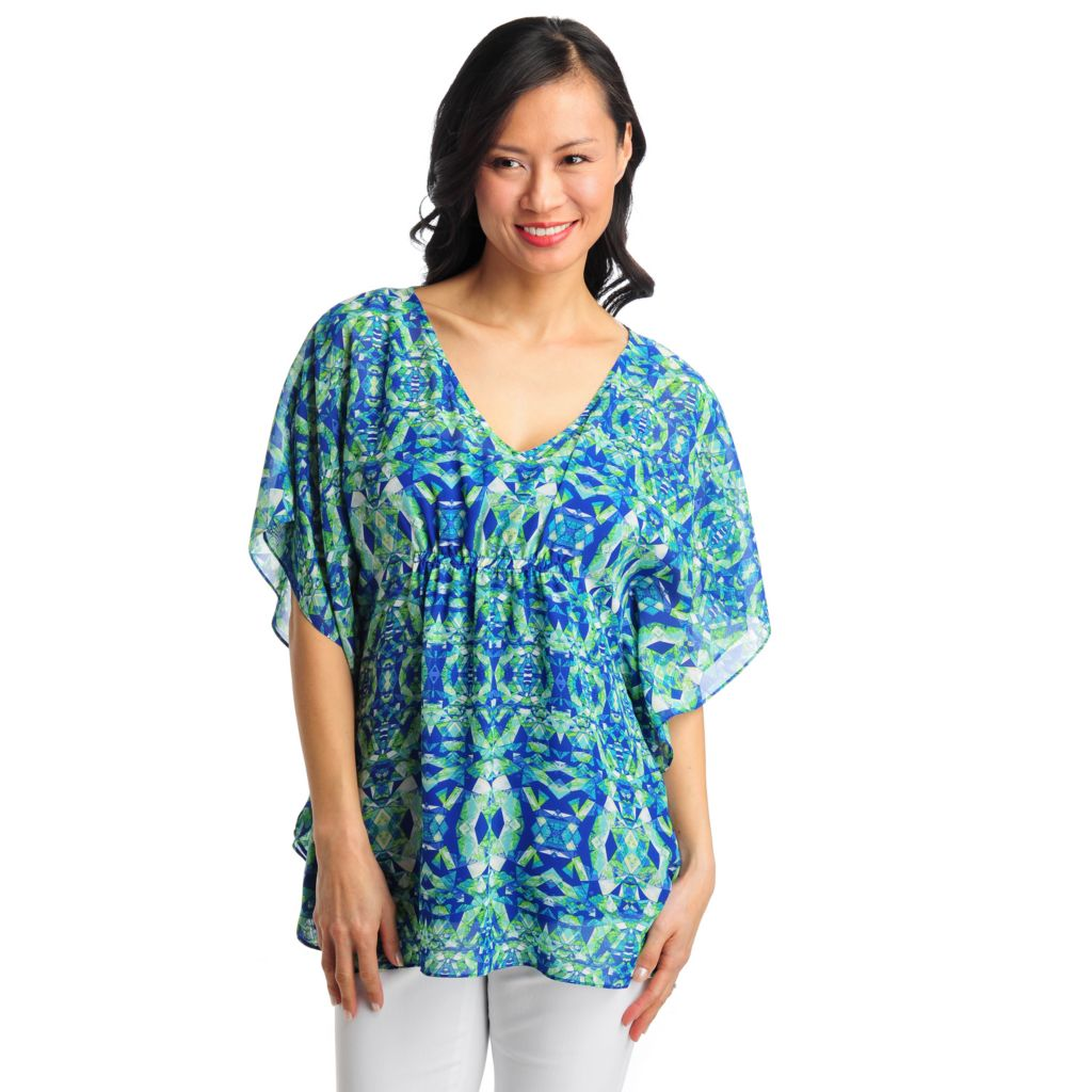711-986 - aDRESSing WOMAN Yoryu Cinched Waist Poncho Blouse w/ Knit Layer Cami