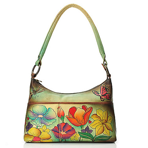 711-987 - Anuschka Hand-Painted Leather Medium Zip Top Hobo Handbag
