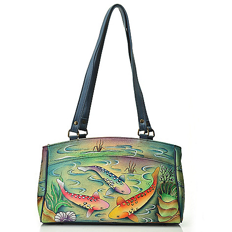711-988 - Anuschka Hand-Painted Leather Double Entry Satchel