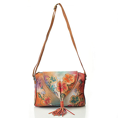 711-990 - Anuschka Hand-Painted Leather Tasseled Flap Over Shoulder Bag