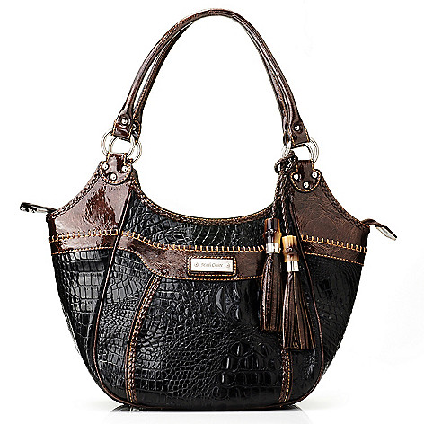 712-000 - Madi Claire ''Rachelle'' Croco Embossed Leather Two-tone Tasseled Satchel
