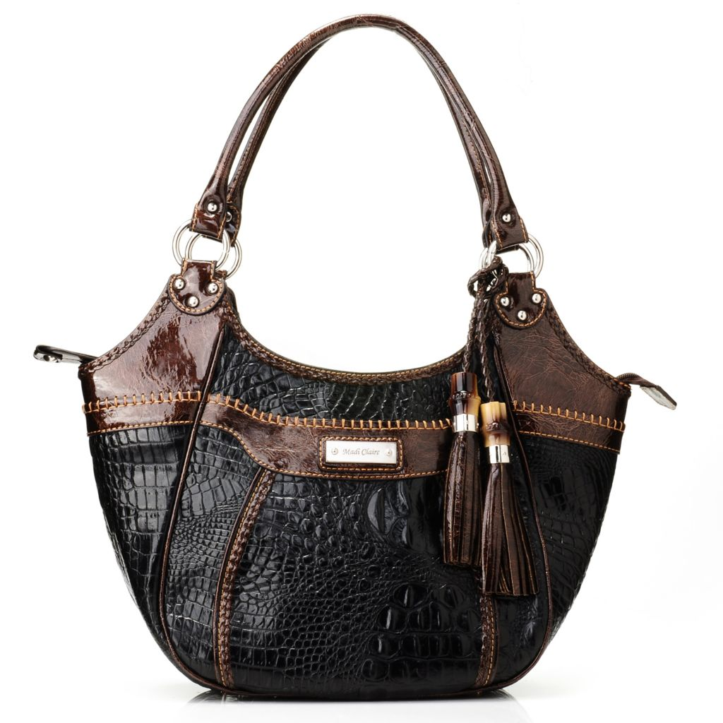 712-000 - Madi Claire Croco Embossed Leather Two-tone Tasseled Satchel
