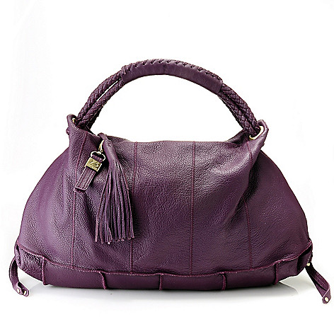 712-011 - Buxton® Leather Woven Rope Handle Tasseled Zip Top Hobo Handbag