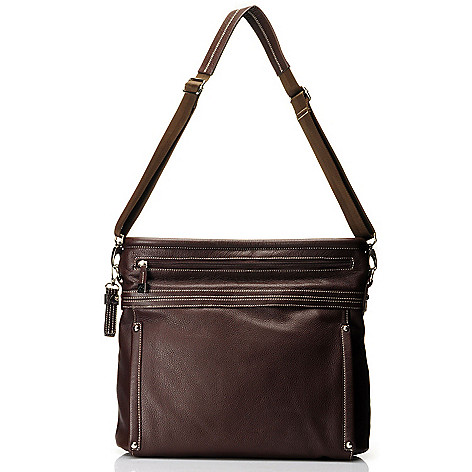712-014 - Buxton® Leather ''Rimini'' Zipper Handled Tote Bag w/ Removable Strap