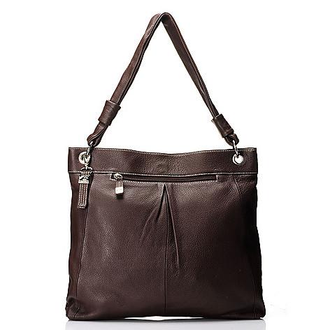 712-016 - Buxton® Leather ''Rimini'' Single Handle Pleated Tote Bag