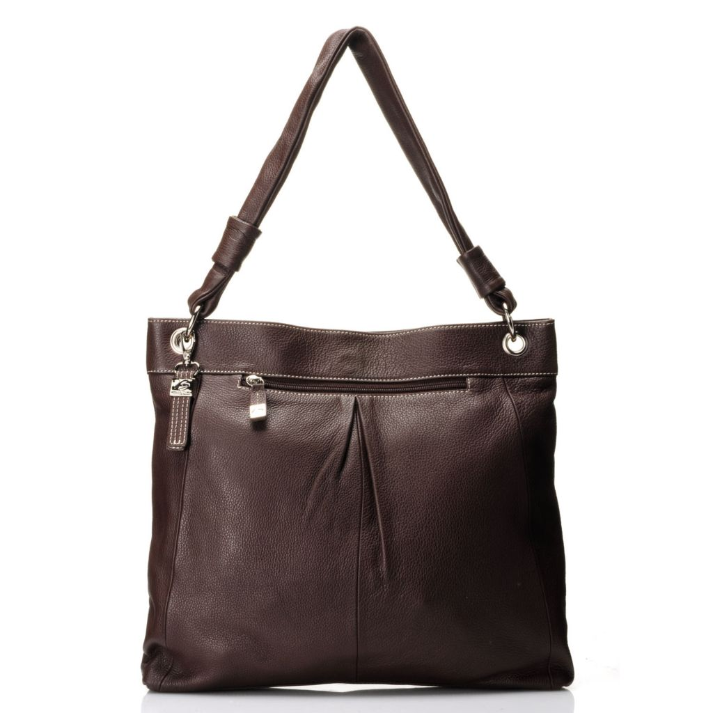 "712-016 - Buxton® Leather ""Rimini"" Single Handle Pleated Tote Bag"