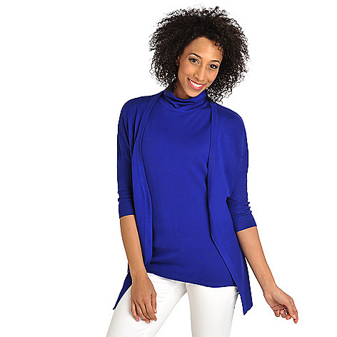 712-017 - Kate & Mallory® Fine Gauge Knit Dolman Cardigan & Ruched Neck Tank Sweater Set