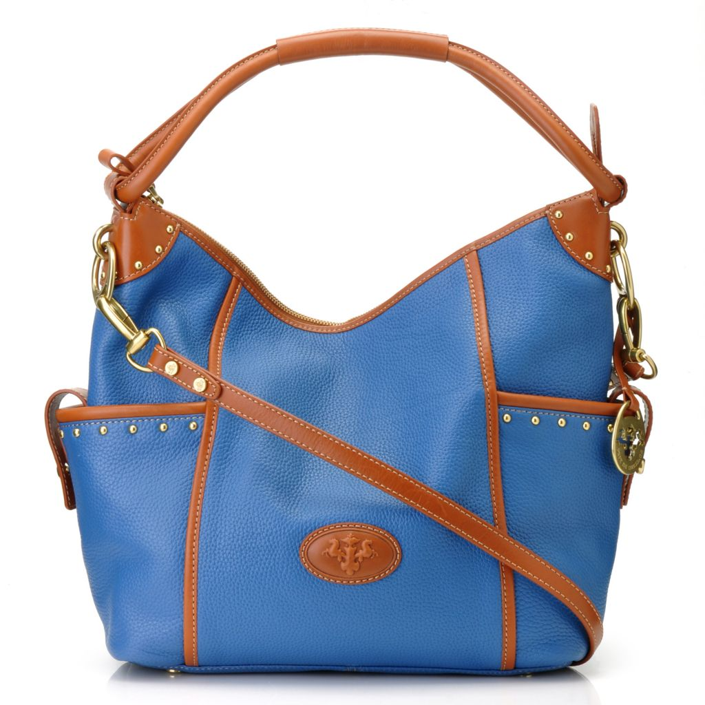 712-018 - PRIX DE DRESSAGE Pebbled Leather Stud Detailed Hobo Handbag w/ Shoulder Strap