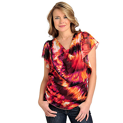 712-020 - One World Print Chiffon Flutter Sleeved Drape Neck Knit Combo Top